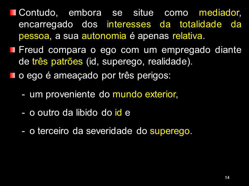 Contudo, embora se situe como mediador, encarregado dos interesses da totalidade da pessoa, a sua autonomia é apenas relativa.