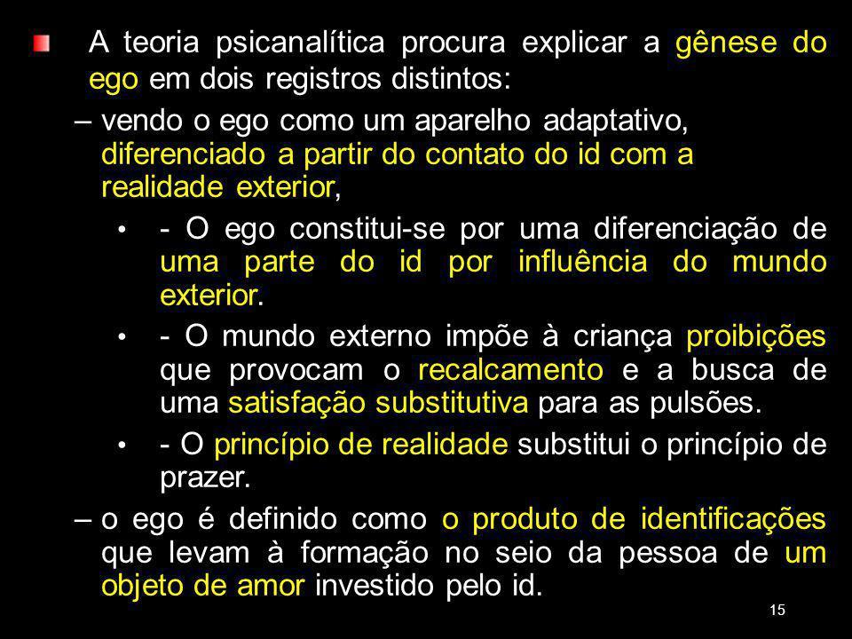 A teoria psicanalítica procura explicar a gênese do ego em dois registros distintos: –vendo o ego como um aparelho adaptativo, diferenciado a partir do contato do id com a realidade exterior, - O ego constitui-se por uma diferenciação de uma parte do id por influência do mundo exterior.