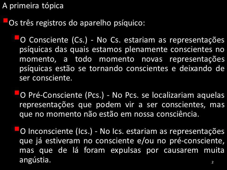 A primeira tópica  Os três registros do aparelho psíquico:  O Consciente (Cs.) - No Cs.