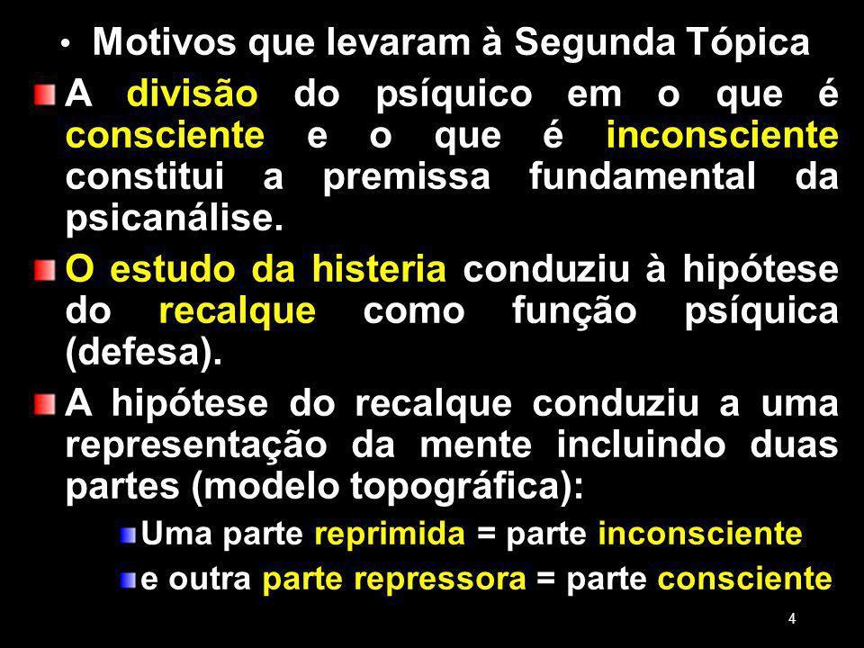 Motivos que levaram à Segunda Tópica A divisão do psíquico em o que é consciente e o que é inconsciente constitui a premissa fundamental da psicanálise.