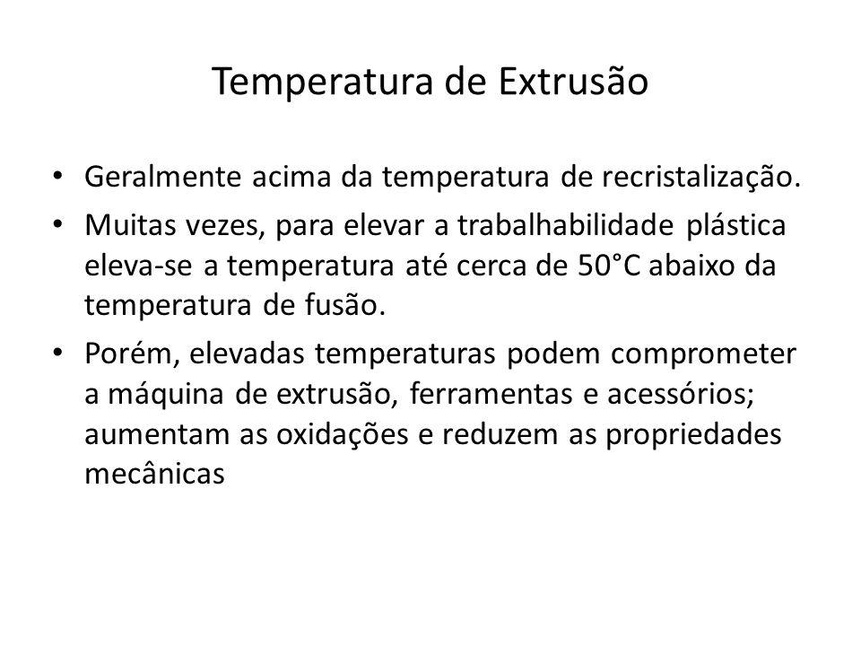 Temperatura de Extrusão Geralmente acima da temperatura de recristalização. Muitas vezes, para elevar a trabalhabilidade plástica eleva-se a temperatu