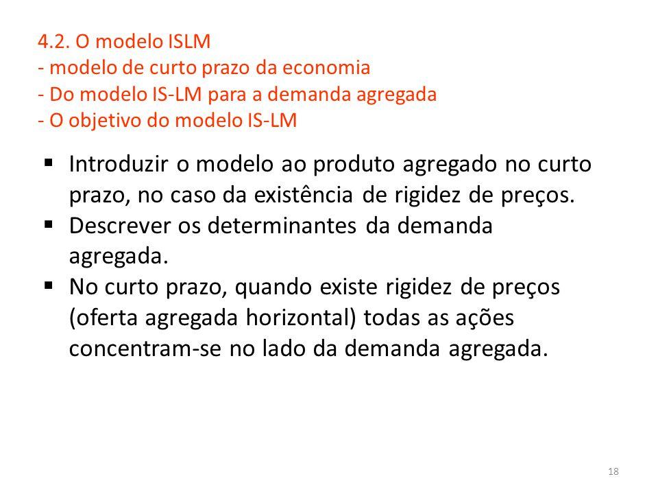 18 4.2. O modelo ISLM - modelo de curto prazo da economia - Do modelo IS-LM para a demanda agregada - O objetivo do modelo IS-LM  Introduzir o modelo