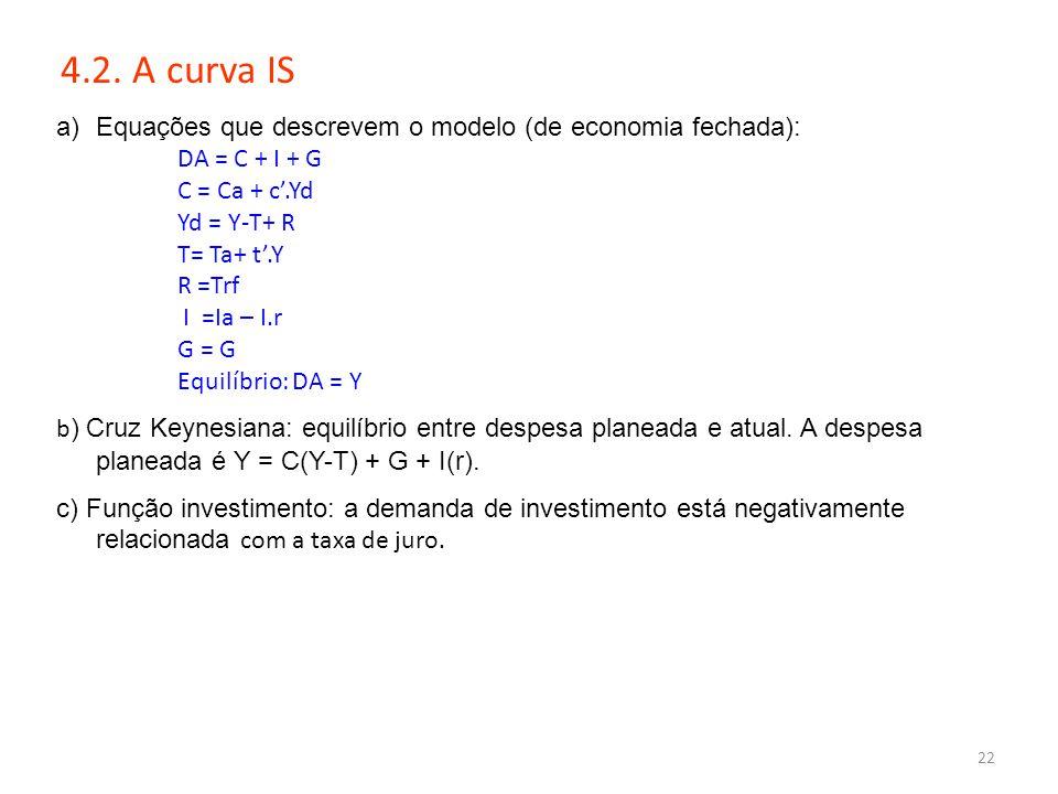 22 4.2. A curva IS a)Equações que descrevem o modelo (de economia fechada): DA = C + I + G C = Ca + c'.Yd Yd = Y-T+ R T= Ta+ t'.Y R =Trf I =Ia – I.r G