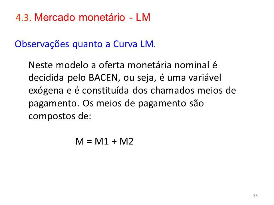 33 4.3. Mercado monetário - LM Observações quanto a Curva LM. Neste modelo a oferta monetária nominal é decidida pelo BACEN, ou seja, é uma variável e