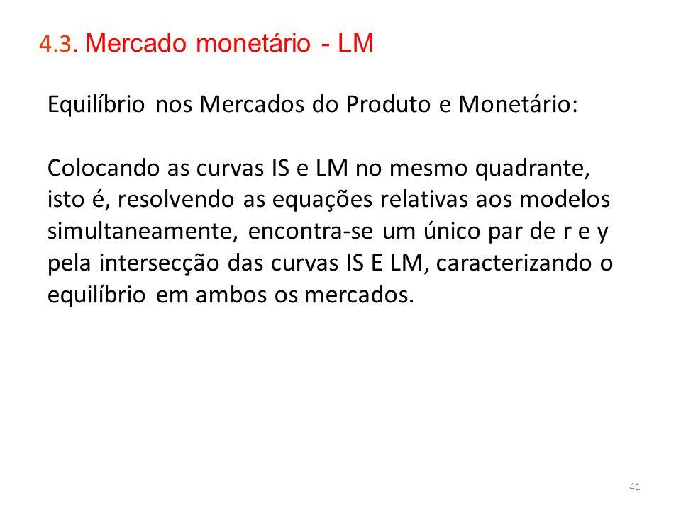 41 S 4.3. Mercado monetário - LM Equilíbrio nos Mercados do Produto e Monetário: Colocando as curvas IS e LM no mesmo quadrante, isto é, resolvendo as