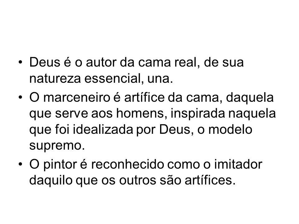 Deus é o autor da cama real, de sua natureza essencial, una. O marceneiro é artífice da cama, daquela que serve aos homens, inspirada naquela que foi