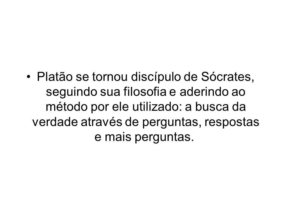 Platão se tornou discípulo de Sócrates, seguindo sua filosofia e aderindo ao método por ele utilizado: a busca da verdade através de perguntas, respos