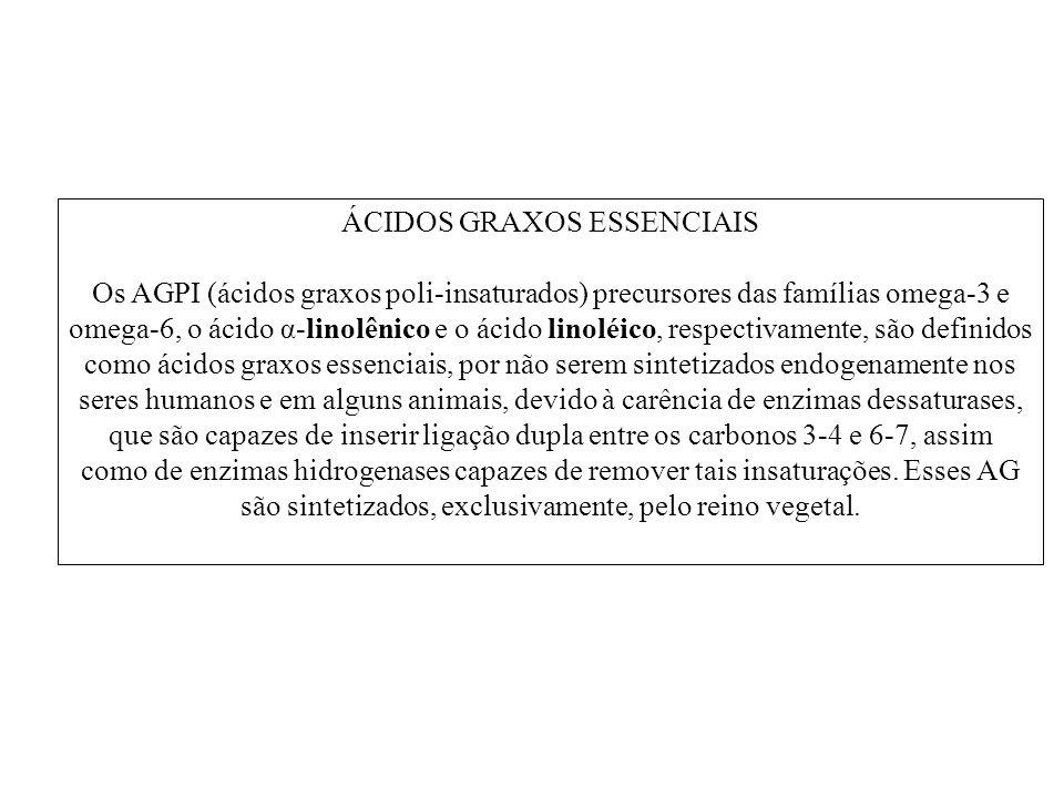 ÁCIDOS GRAXOS ESSENCIAIS Os AGPI (ácidos graxos poli-insaturados) precursores das famílias omega-3 e omega-6, o ácido α-linolênico e o ácido linoléico