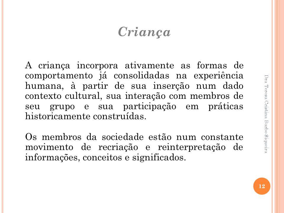 Dra Teresa Cristina Barbo Siqueira 12 Criança A criança incorpora ativamente as formas de comportamento já consolidadas na experiência humana, à parti