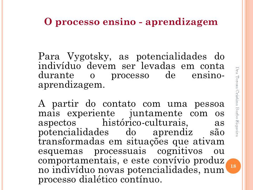 Dra Teresa Cristina Barbo Siqueira 18 Para Vygotsky, as potencialidades do indivíduo devem ser levadas em conta durante o processo de ensino- aprendiz