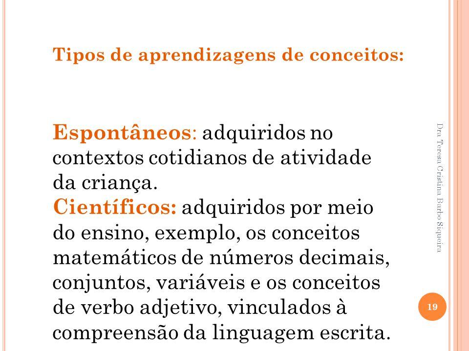 Dra Teresa Cristina Barbo Siqueira 19 Tipos de aprendizagens de conceitos: Espontâneos : adquiridos no contextos cotidianos de atividade da criança. C