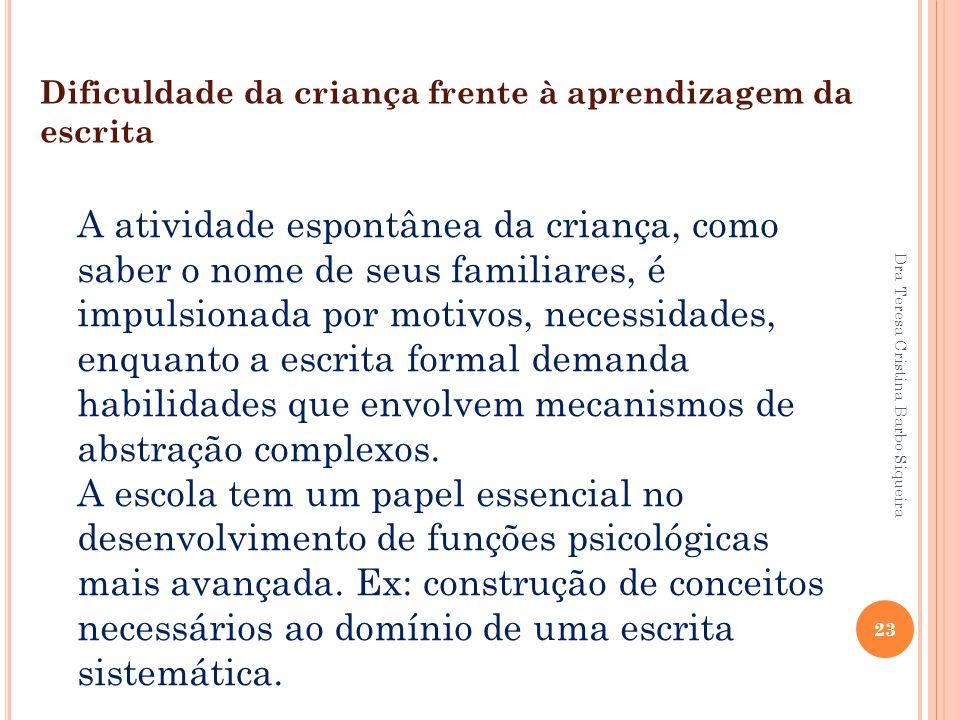 Dra Teresa Cristina Barbo Siqueira 23 Dificuldade da criança frente à aprendizagem da escrita A atividade espontânea da criança, como saber o nome de
