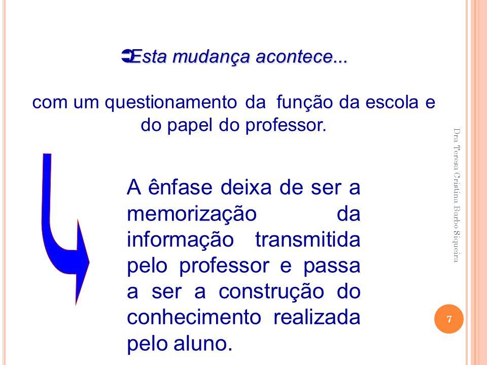 7  Esta mudança acontece... com um questionamento da função da escola e do papel do professor. A ênfase deixa de ser a memorização da informação tran