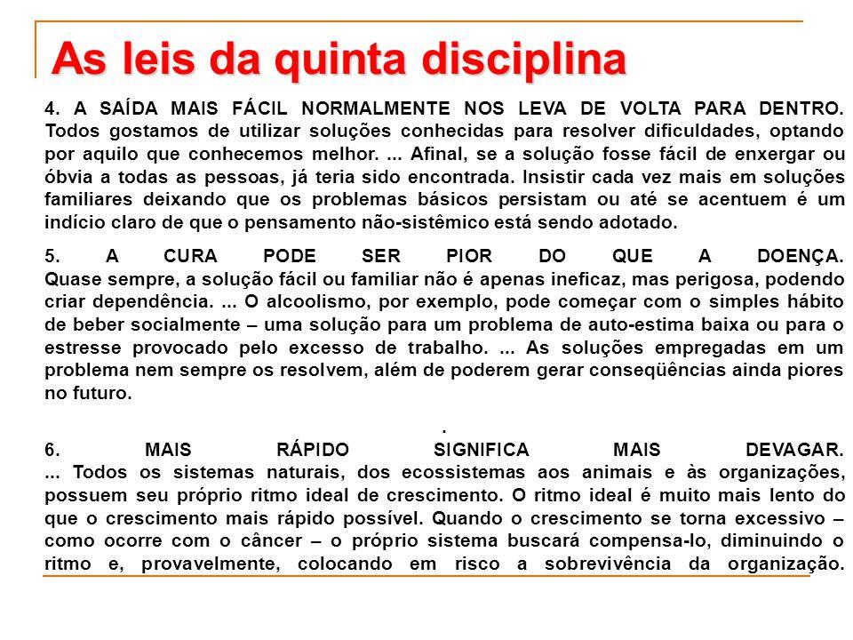 As leis da quinta disciplina 4. A SAÍDA MAIS FÁCIL NORMALMENTE NOS LEVA DE VOLTA PARA DENTRO. Todos gostamos de utilizar soluções conhecidas para reso