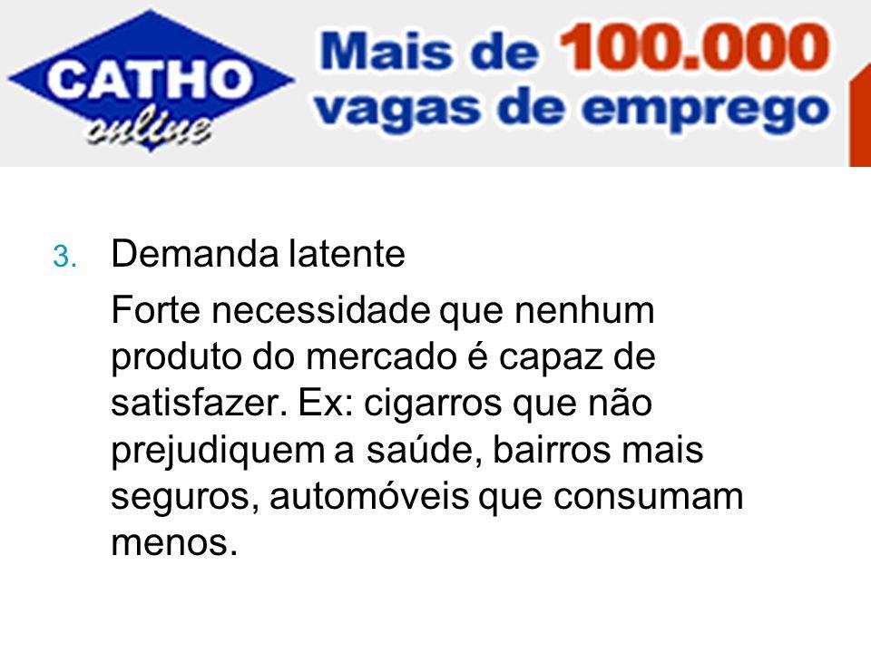 3.Demanda latente Forte necessidade que nenhum produto do mercado é capaz de satisfazer.