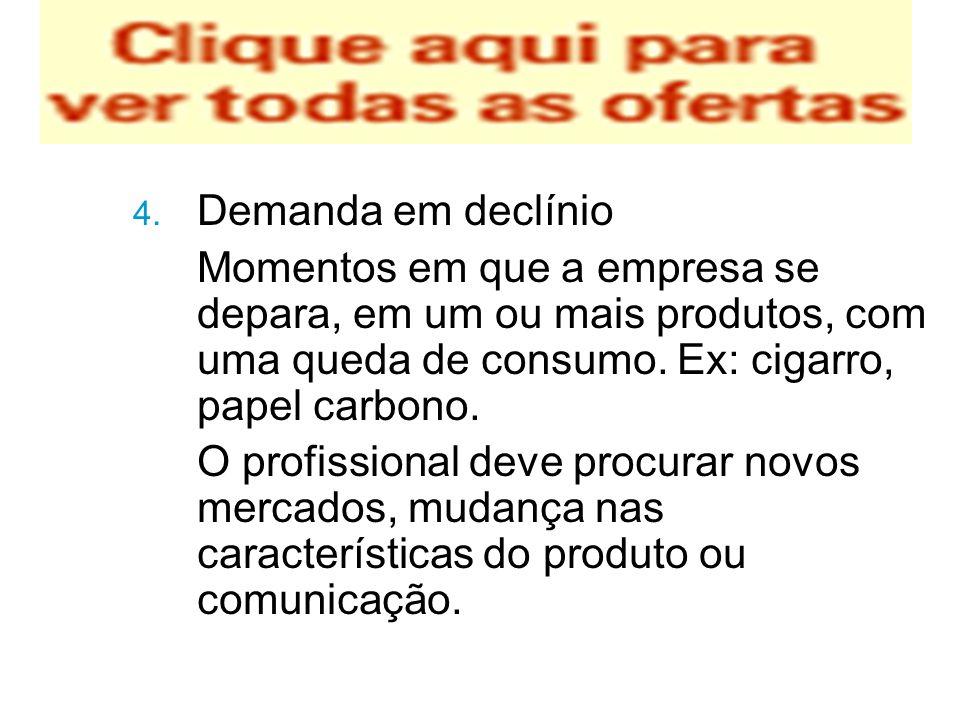 4. Demanda em declínio Momentos em que a empresa se depara, em um ou mais produtos, com uma queda de consumo. Ex: cigarro, papel carbono. O profission