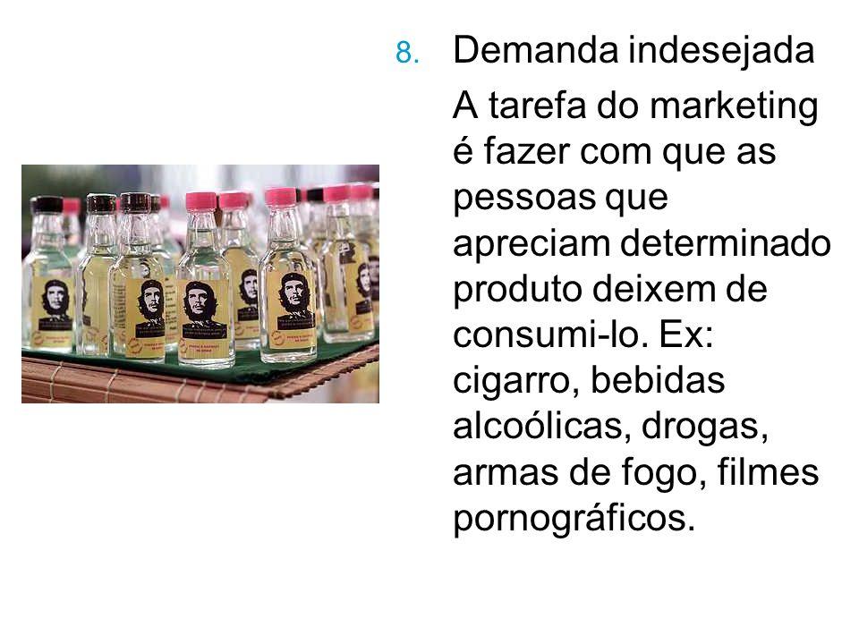 8. Demanda indesejada A tarefa do marketing é fazer com que as pessoas que apreciam determinado produto deixem de consumi-lo. Ex: cigarro, bebidas alc