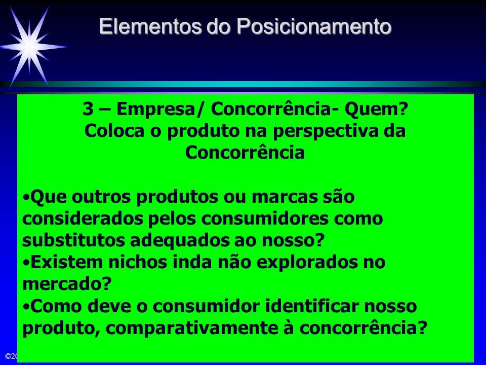 ©2000 Prentice Hall 2 – Grupo Alvo – A quem? A que grupo de consumidores no mercado a empresa irá visar com sua oferta específica: Quem são os consumi