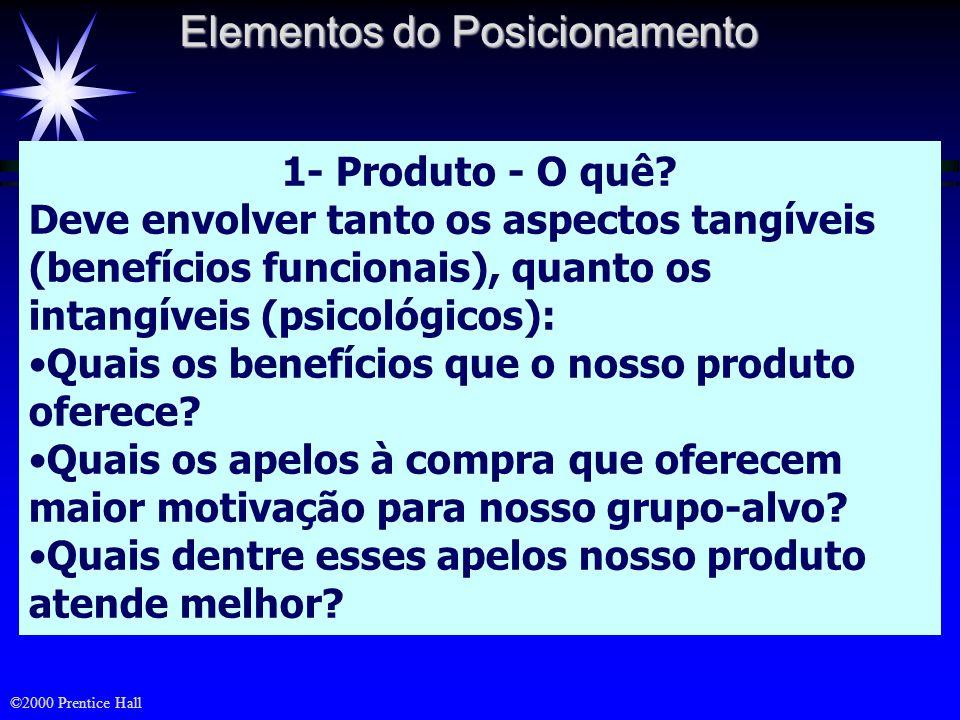 ©2000 Prentice Hall Posicionamento de um produto È a imagem obtida pelo produto na mente do consumidor, como resultado de três dimensões: O tipo de of