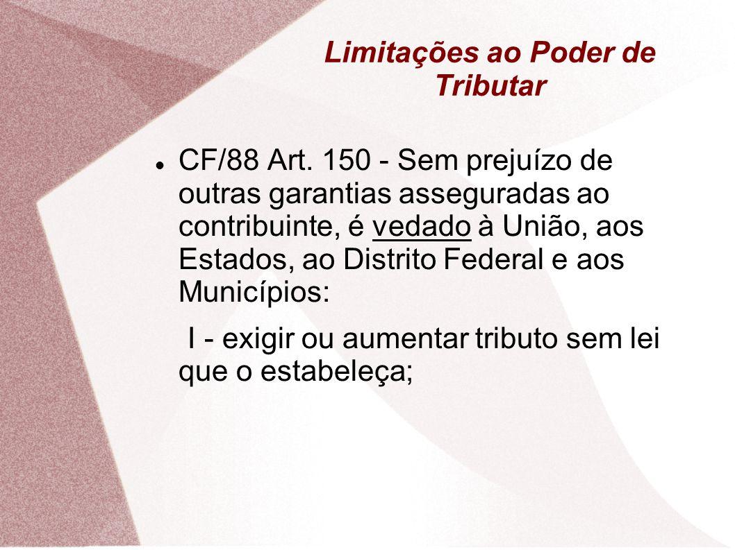 Limitações ao Poder de Tributar A anterioridade anual, não se aplica: Empréstimos Compulsórios em caso de calamidade pública ou guerra externa (148, I); Ao II, IE, IPI e IOF; (153, I, II, IV E V) Imposto Extraordinário de Guerra; (154, II)