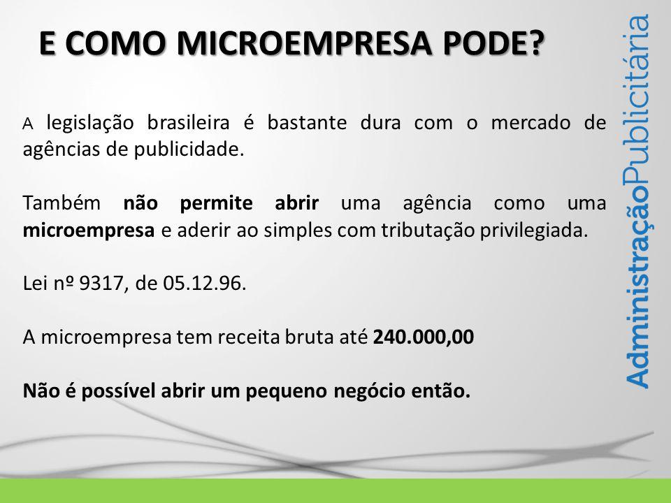 LEI Nº 9317, de 5.12.96 Algumas regras foram estabelecidas para a microempresa: Receita bruta da microempresa não pode ultrapassar 240.000,00 (Duzentos e quarenta mil reais).
