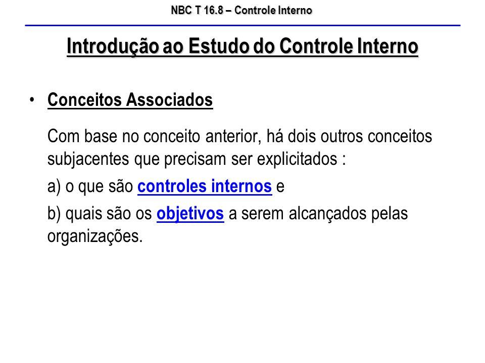 NBC T 16.8 – Controle Interno Introdução ao Estudo do Controle Interno Conceitos Associados Com base no conceito anterior, há dois outros conceitos su