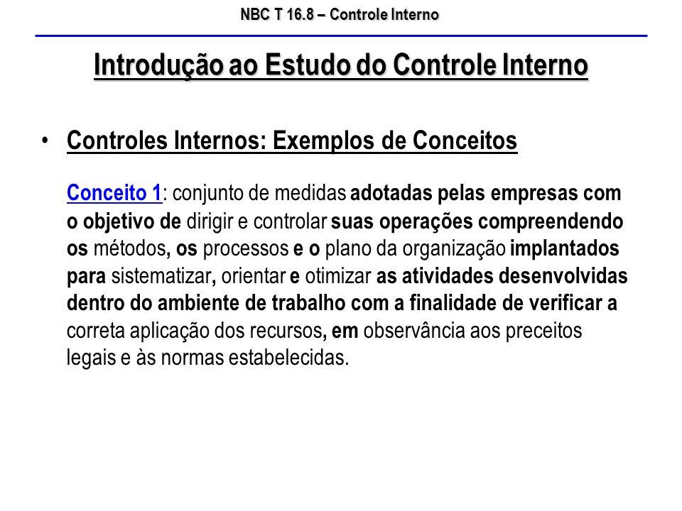 NBC T 16.8 – Controle Interno Introdução ao Estudo do Controle Interno Controles Internos: Exemplos de Conceitos Conceito 1 : conjunto de medidas adot