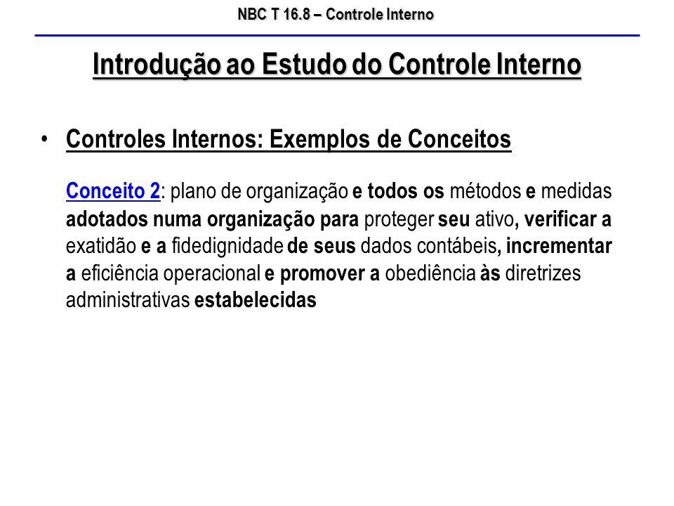 NBC T 16.8 – Controle Interno Introdução ao Estudo do Controle Interno Controles Internos: Exemplos de Conceitos Conceito 2 : plano de organização e t