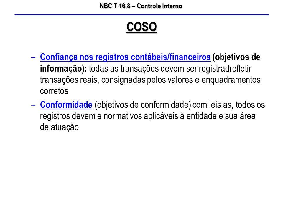 NBC T 16.8 – Controle Interno – Confiança nos registros contábeis/financeiros (objetivos de informação): todas as transações devem ser registradreflet