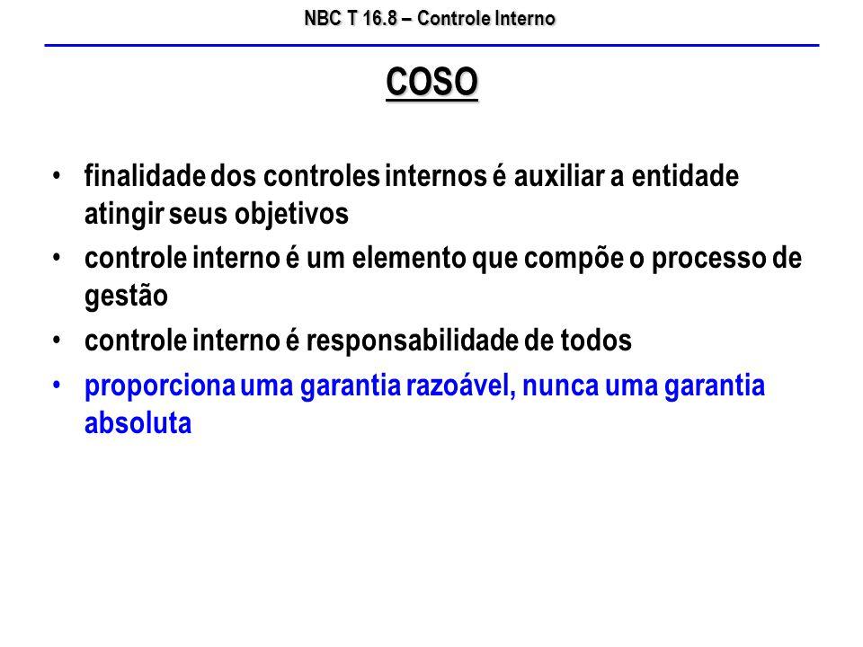 NBC T 16.8 – Controle Interno finalidade dos controles internos é auxiliar a entidade atingir seus objetivos controle interno é um elemento que compõe