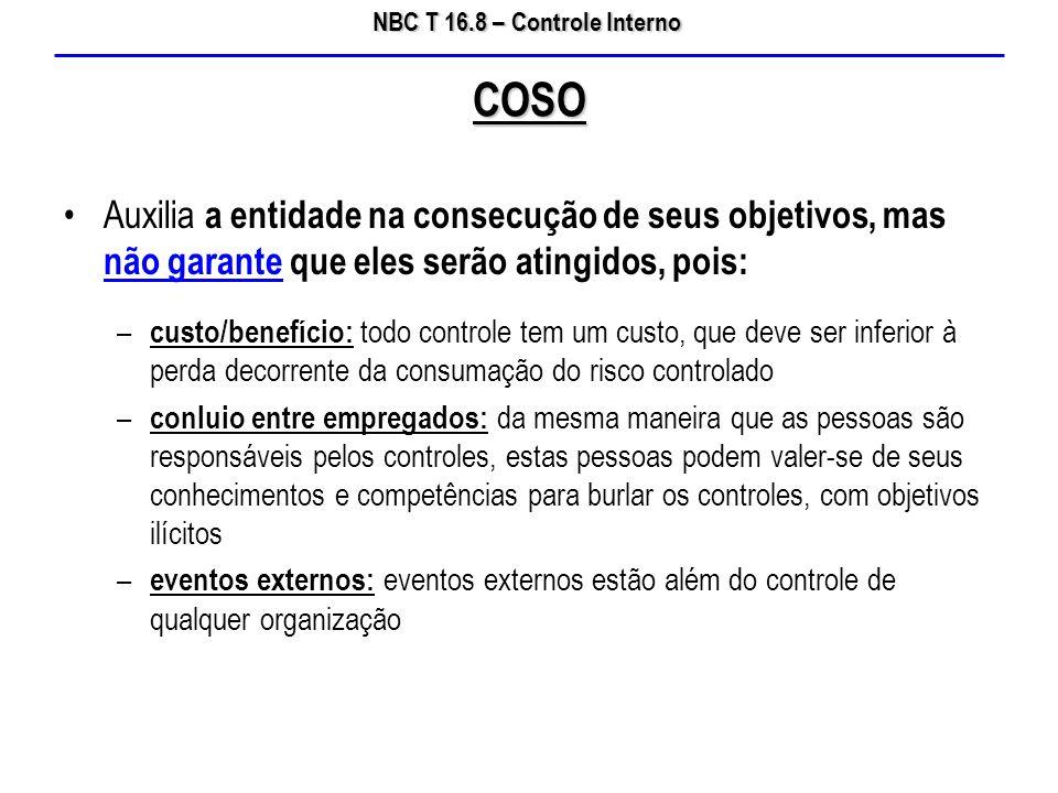 NBC T 16.8 – Controle Interno Auxilia a entidade na consecução de seus objetivos, mas não garante que eles serão atingidos, pois: – custo/benefício: t