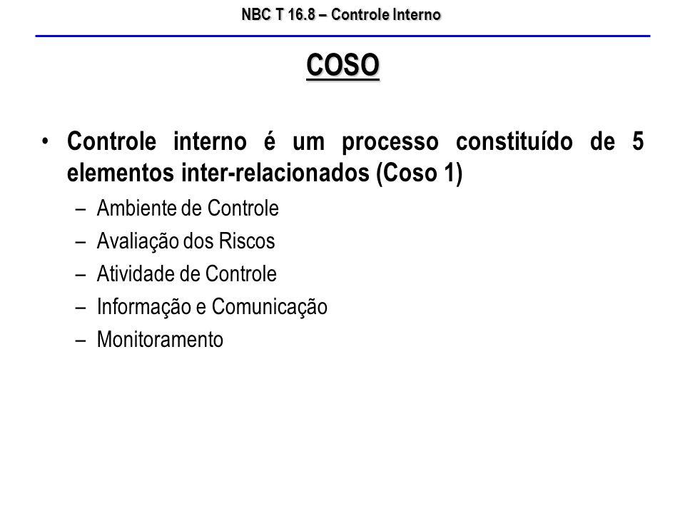 NBC T 16.8 – Controle Interno Controle interno é um processo constituído de 5 elementos inter-relacionados (Coso 1) –Ambiente de Controle –Avaliação d
