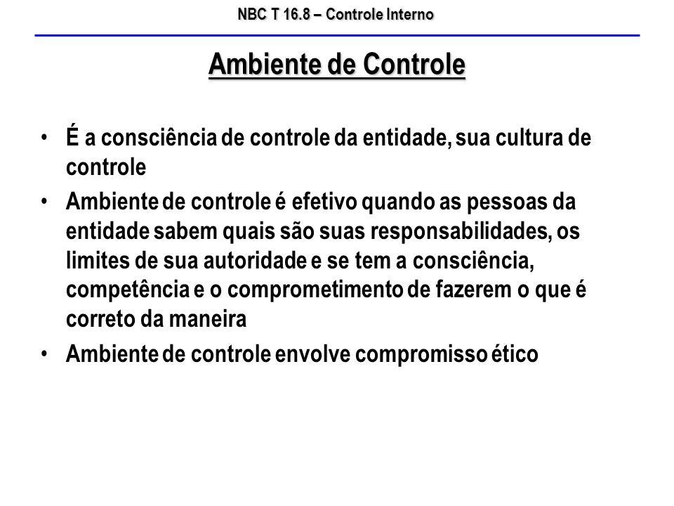 NBC T 16.8 – Controle Interno É a consciência de controle da entidade, sua cultura de controle Ambiente de controle é efetivo quando as pessoas da ent