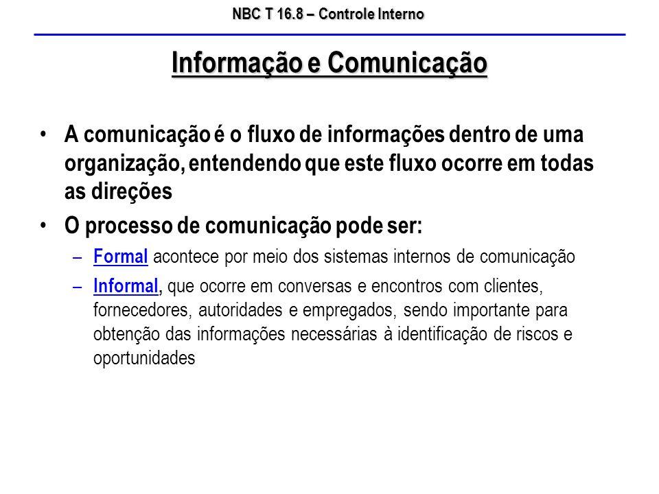 NBC T 16.8 – Controle Interno A comunicação é o fluxo de informações dentro de uma organização, entendendo que este fluxo ocorre em todas as direções
