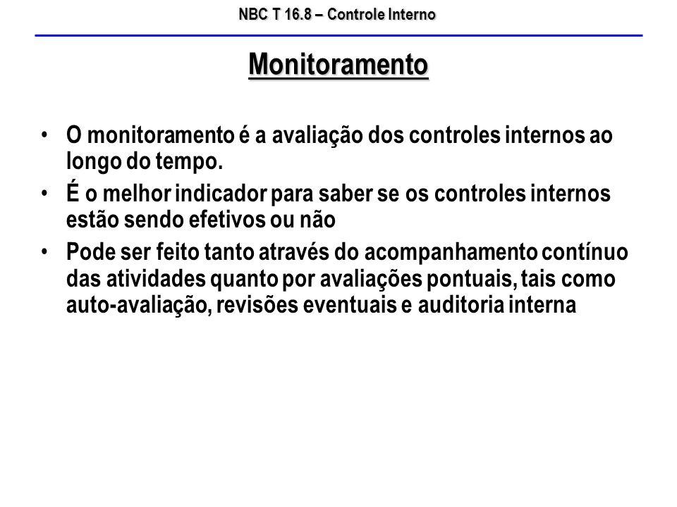 NBC T 16.8 – Controle Interno O monitoramento é a avaliação dos controles internos ao longo do tempo. É o melhor indicador para saber se os controles