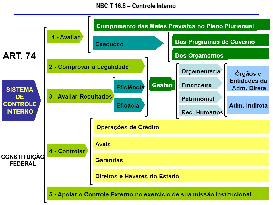 NBC T 16.8 – Controle Interno 3.O controle interno deve ser exercido em todos os níveis da entidade do setor público, compreendendo: (a)a preservação do patrimônio público; (b)o controle da execução das ações que integram os programas; (c)a observância às leis, aos regulamentos e às diretrizes estabelecidas.