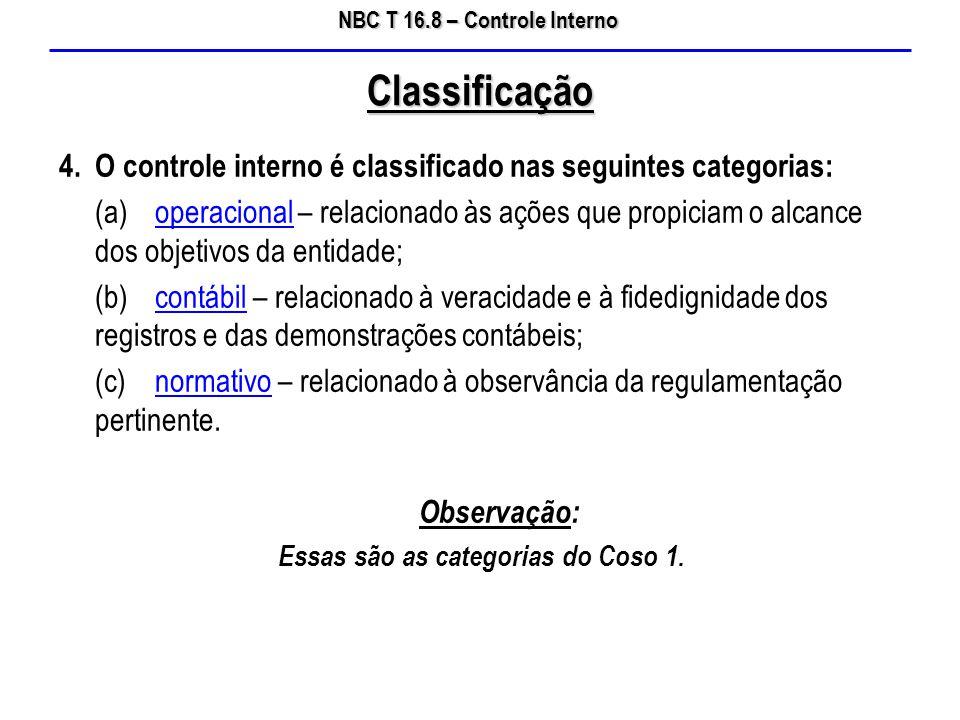 NBC T 16.8 – Controle Interno 4. O controle interno é classificado nas seguintes categorias: (a)operacional – relacionado às ações que propiciam o alc