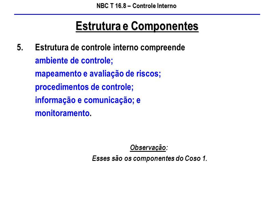 NBC T 16.8 – Controle Interno 5.Estrutura de controle interno compreende ambiente de controle; mapeamento e avaliação de riscos; procedimentos de cont