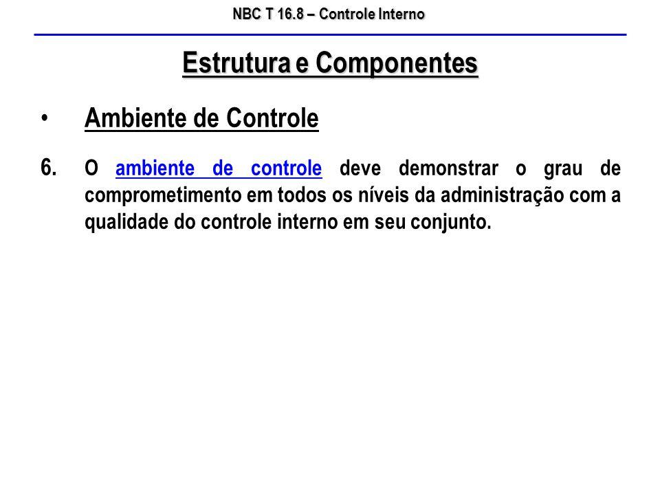 NBC T 16.8 – Controle Interno Ambiente de Controle 6. O ambiente de controle deve demonstrar o grau de comprometimento em todos os níveis da administr