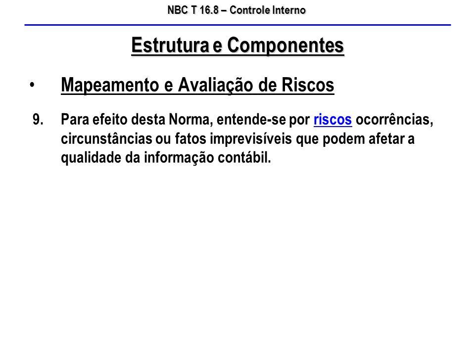 NBC T 16.8 – Controle Interno Mapeamento e Avaliação de Riscos 9.Para efeito desta Norma, entende-se por riscos ocorrências, circunstâncias ou fatos i