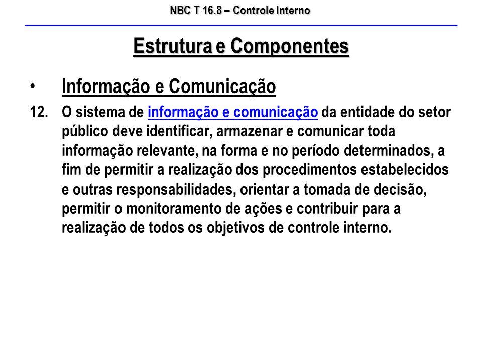 NBC T 16.8 – Controle Interno Informação e Comunicação 12.O sistema de informação e comunicação da entidade do setor público deve identificar, armazen