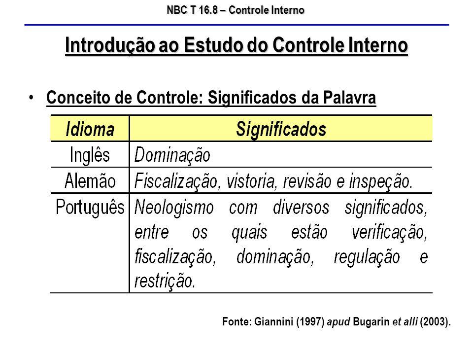 NBC T 16.8 – Controle Interno Introdução ao Estudo do Controle Interno Conceito de Controle: Conotações da Palavra Fonte: Speck (2000) apud Bugarin et alli (2003).