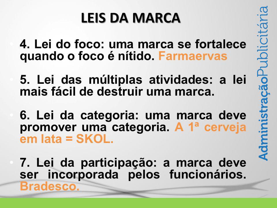 4. Lei do foco: uma marca se fortalece quando o foco é nítido.
