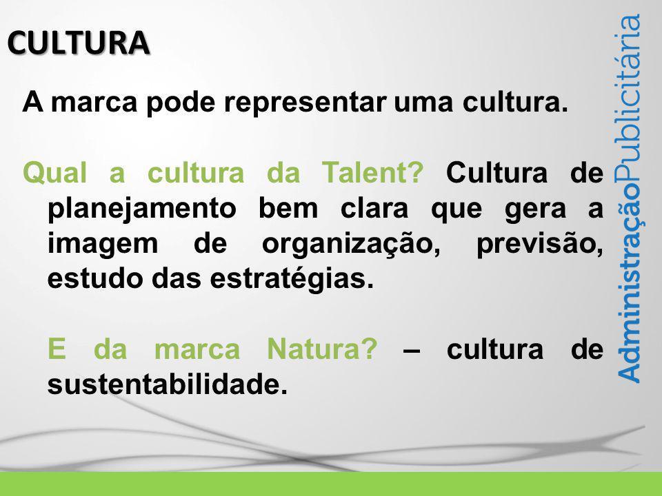 A marca pode representar uma cultura. Qual a cultura da Talent.