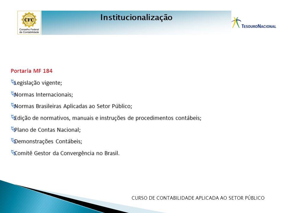 CURSO DE CONTABILIDADE APLICADA AO SETOR PÚBLICO Portaria MF 184  Legislação vigente;  Normas Internacionais;  Normas Brasileiras Aplicadas ao Seto