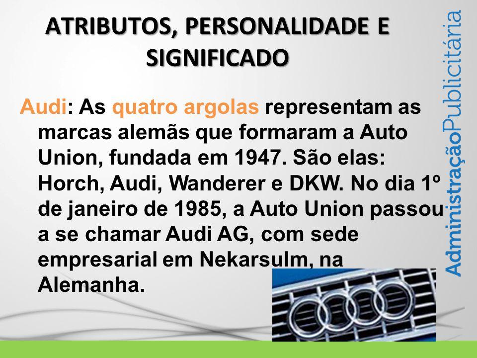 Audi: As quatro argolas representam as marcas alemãs que formaram a Auto Union, fundada em 1947.