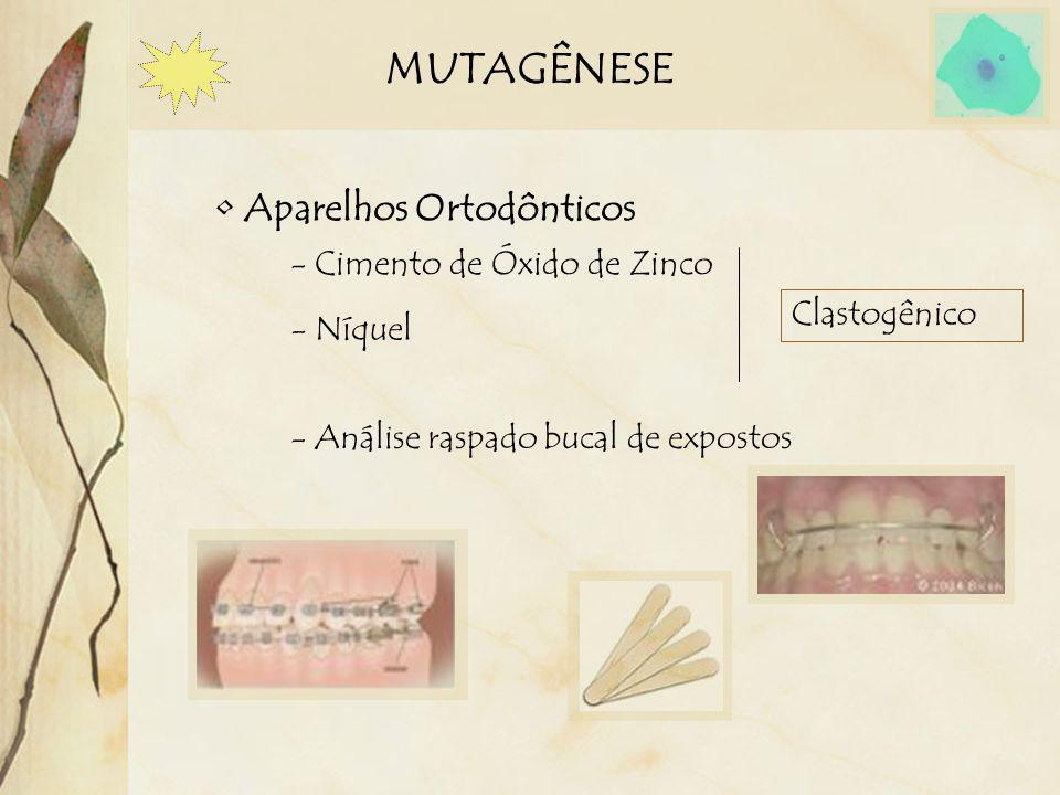 MUTAGÊNESE Aparelhos Ortodônticos - Cimento de Óxido de Zinco Clastogênico - Análise raspado bucal de expostos - Níquel