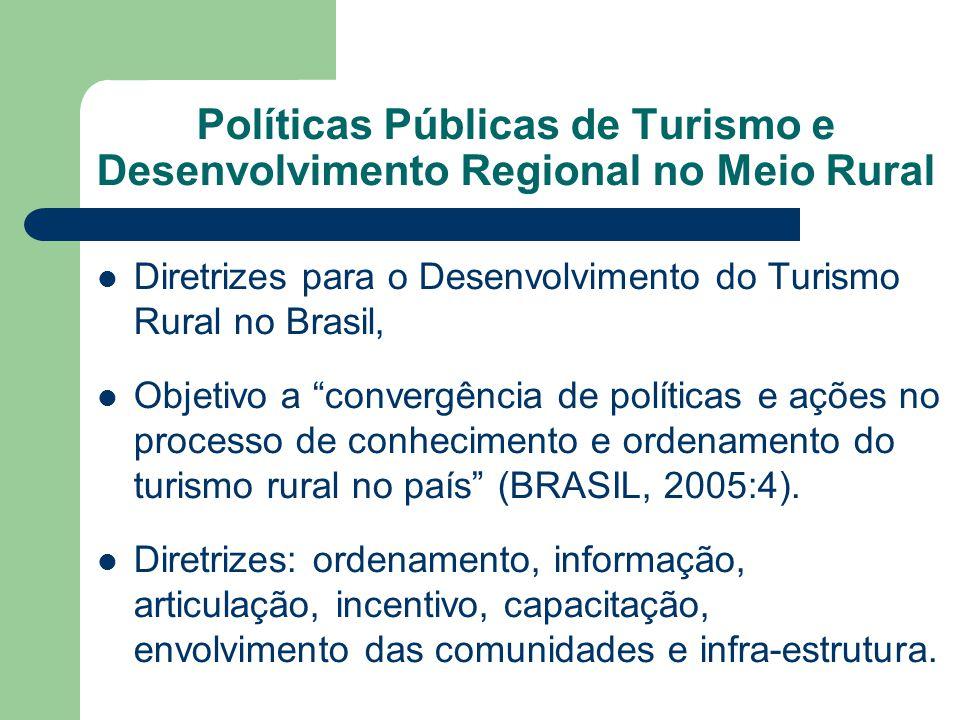 """Diretrizes para o Desenvolvimento do Turismo Rural no Brasil, Objetivo a """"convergência de políticas e ações no processo de conhecimento e ordenamento"""