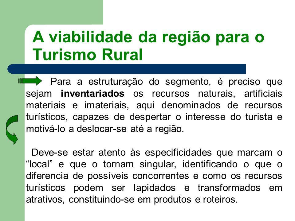 A viabilidade da região para o Turismo Rural Para a estruturação do segmento, é preciso que sejam inventariados os recursos naturais, artificiais mate