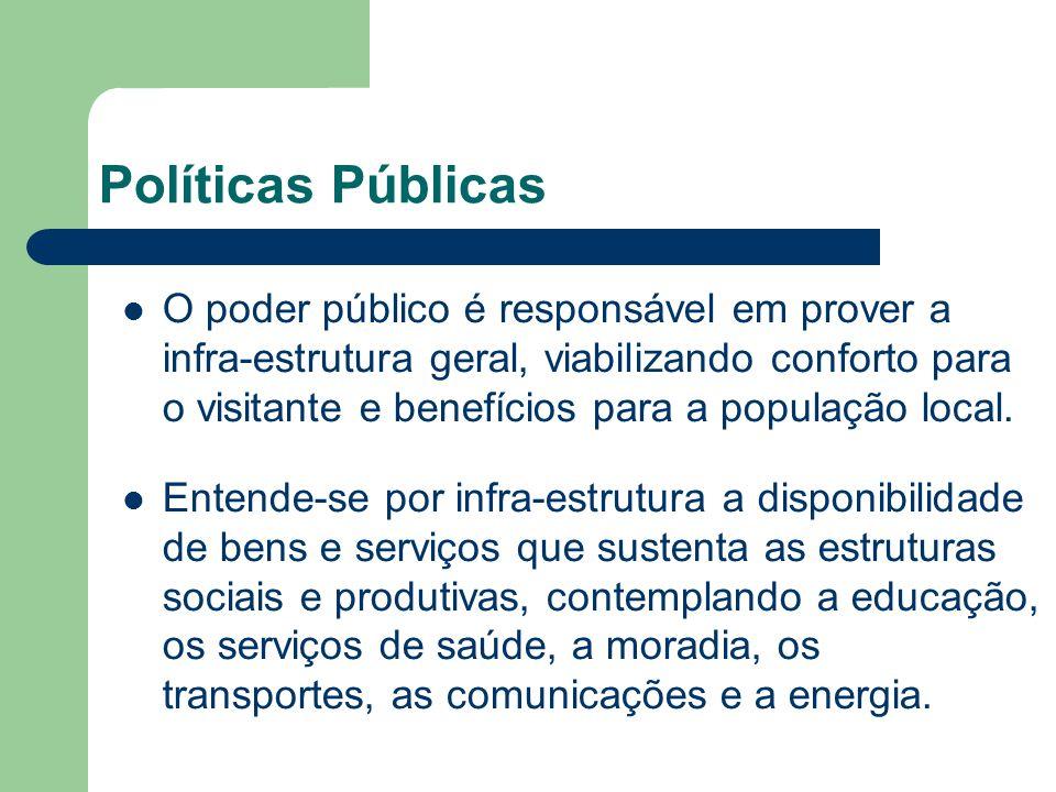 O poder público é responsável em prover a infra-estrutura geral, viabilizando conforto para o visitante e benefícios para a população local. Entende-s
